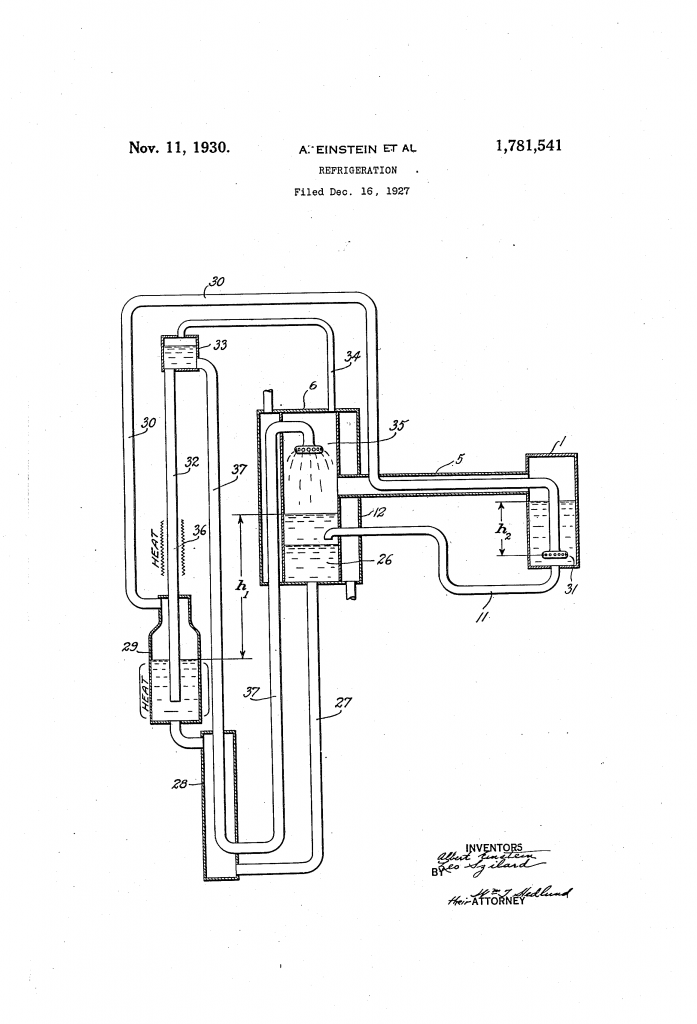 Albert Einstein - Refrigeration Patent Drawing - Nov 11, 1930