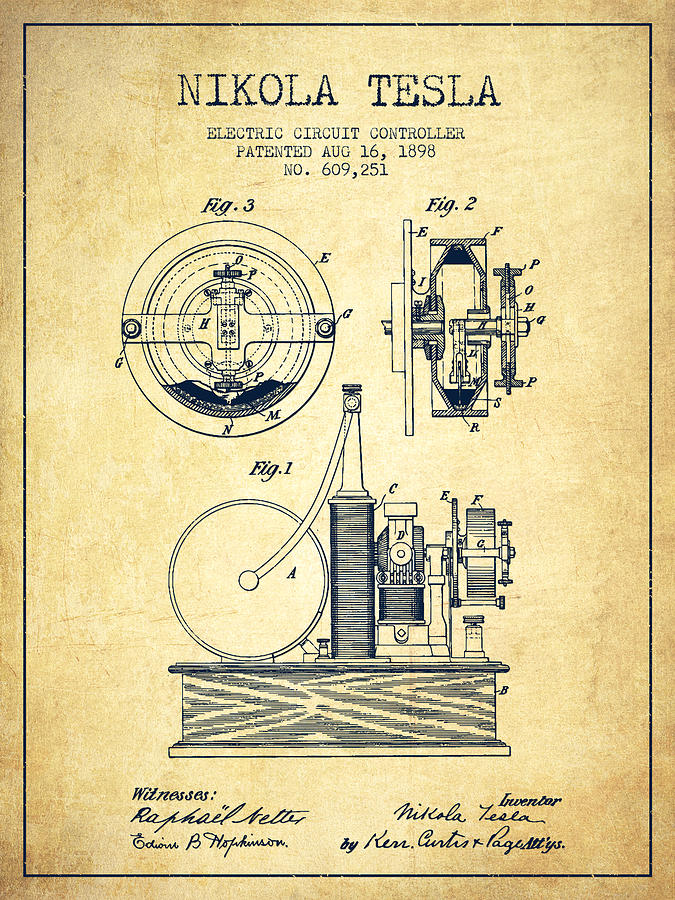 Patent Granted to Nikola Tesla - Electric Circuit Controller (Patented August 16, 1898)
